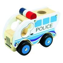 Bino Drewniane auto Policja, niebieski