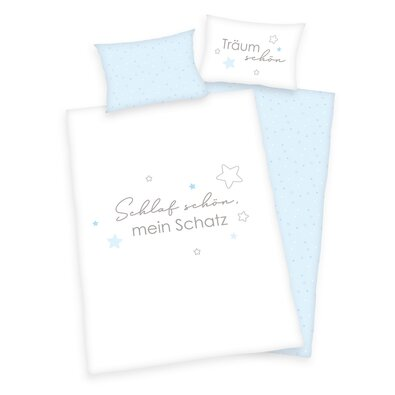 Detské bavlnené obliečky do postieľky Kleiner Schatz modrá, 100 x 135 cm, 40 x 60 cm
