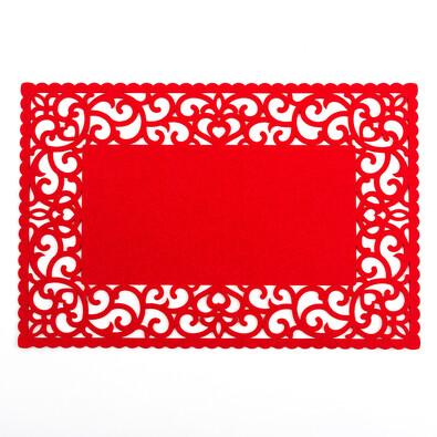 Prostírání plstěné plné červená, 45 x 30 cm, 4 ks