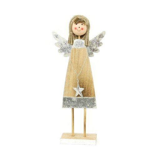 Autronic Andělíček, dřevěná vánoční dekorace ZA8606, 28 cm
