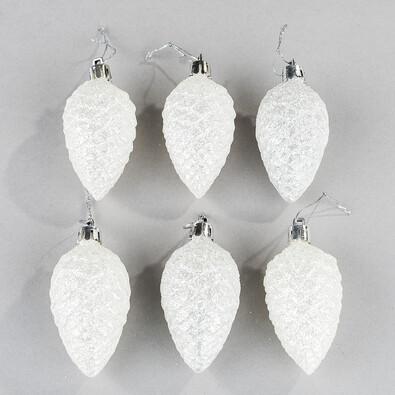 Šiška biele trblietky 6 ks
