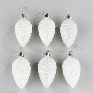 Šiška bílé třpytky 6 ks