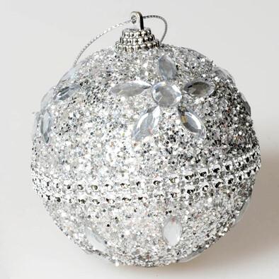 Koule s drahokamy, stříbrná,  pr. 12 cm, stříbrná