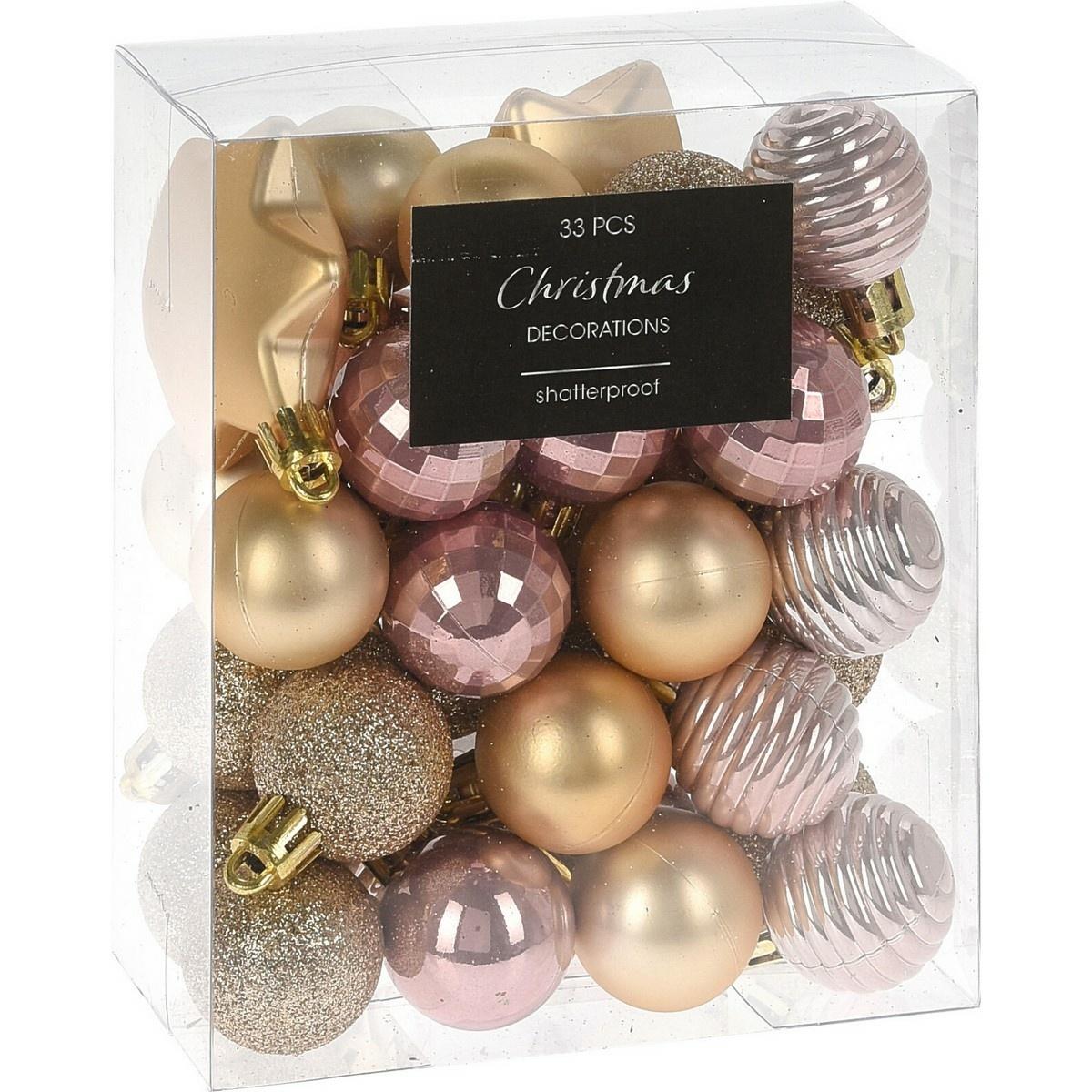 Sada vánočních ozdob Balestrate 33 ks, růžová
