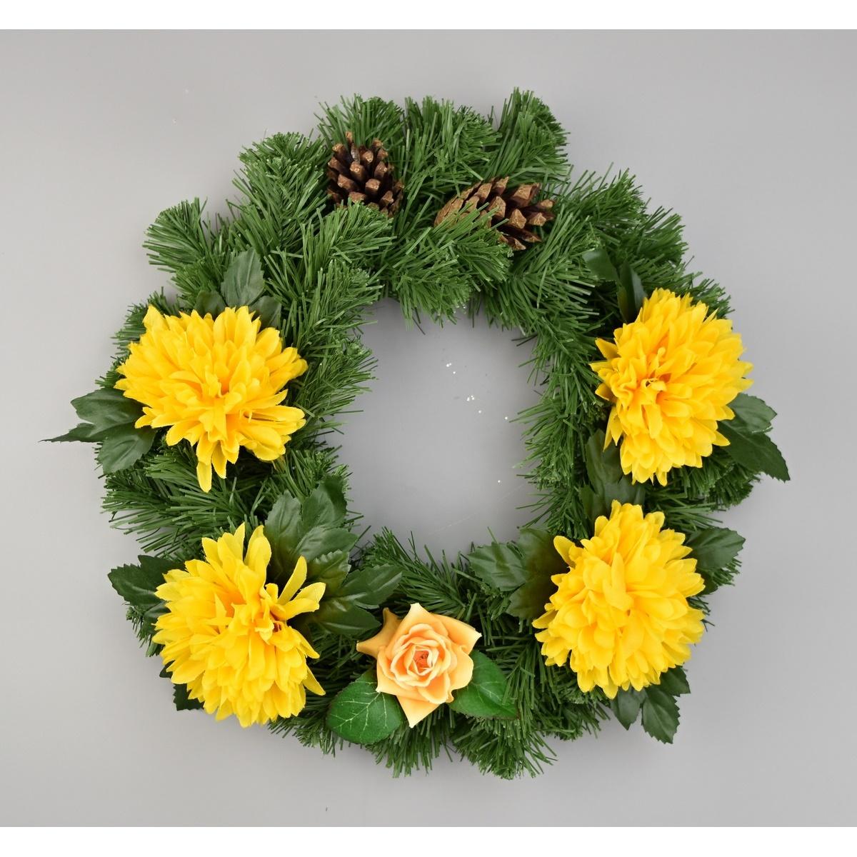 Dušičkový věnec s chryzantémami 30 cm, žlutá