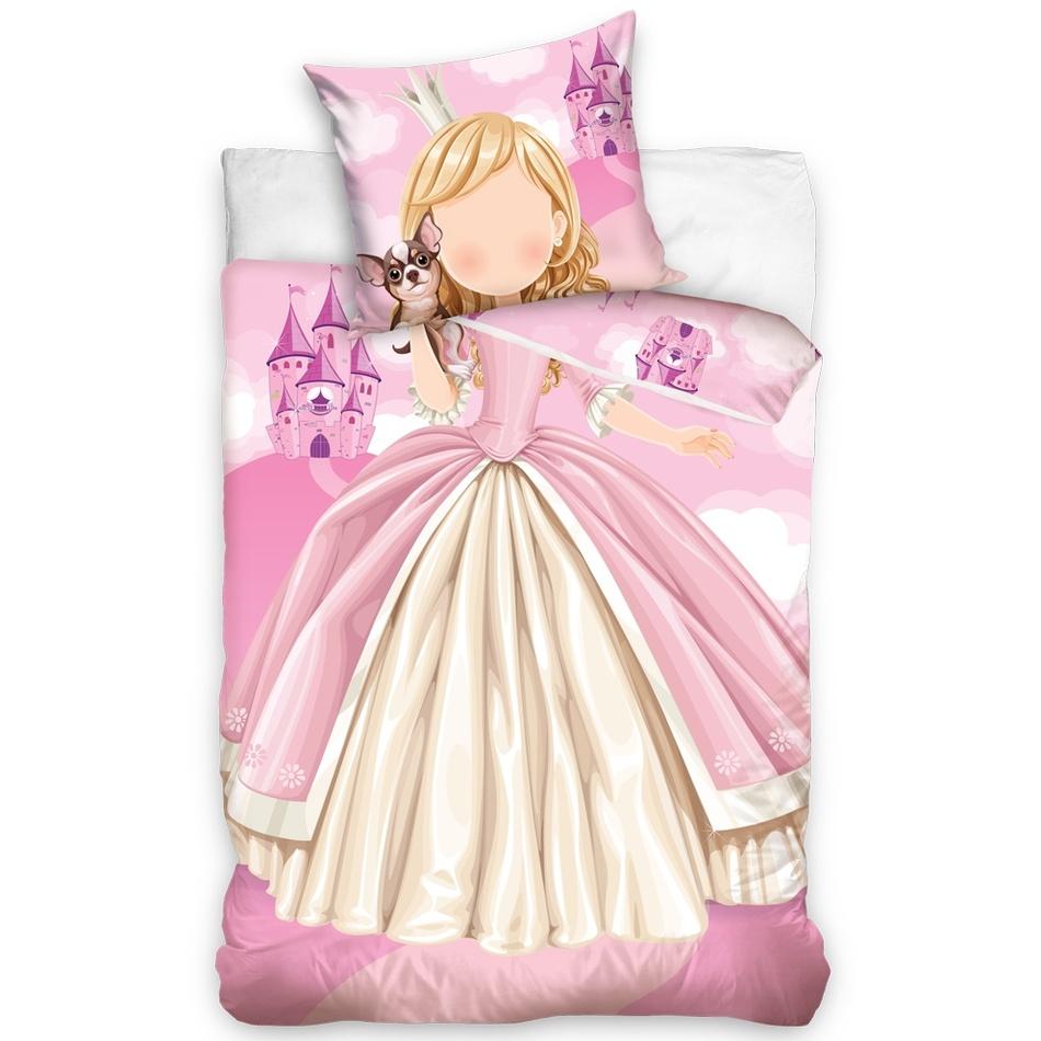 TipTrade Detské bavlnené svietiace obliečky Princezná, 140 x 200 cm, 70 x 90 cm