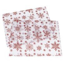 """Świąteczne podkładki stołowe """"Płatki śniegu"""" biały, 32 x 45 cm, zestaw 2 szt."""