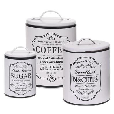 Koopman Komplet pojemników do kawy, ciastek i cukru, biały