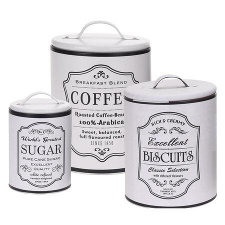 Koopman kávé, cukor, keksz tárolódoboz készlet, fehér
