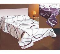 Přehoz na postel May fialový, bílá + fialová, 240 x 260 cm