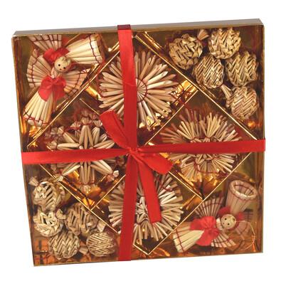 Slaměné ozdoby na vánoční stromeček, 34 ks