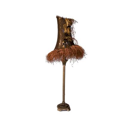 Dekorační lampa s peřím