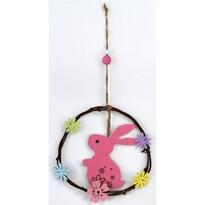 Drevená závesná dekorácia Zajačik ružová, 20 cm
