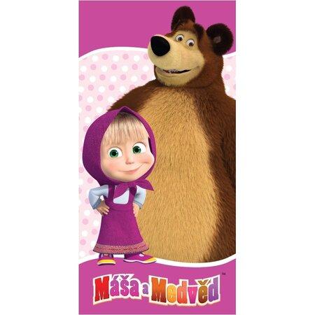 Ręcznik kąpielowy Masza i niedźwiedź pink, 70 x 140 cm