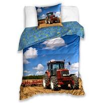 Lenjerie de pat din bumbac pentru copii Tractor pe câmp, 140 x 200 cm, 70 x 90 cm