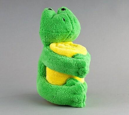 Plyšová žabka s dekou, zelená