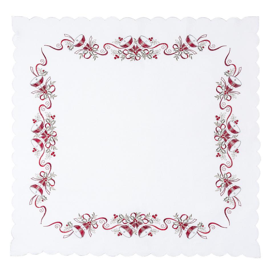 Forbyt Vánoční ubrus Zvonečky bílá, 85 x 85 cm