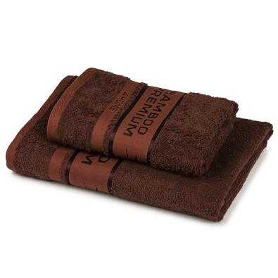4Home Bamboo Premium törölköző és fürdőlepedő szett, sötétbarna , 70 x 140 cm, 50 x 100 cm