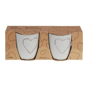 Sada kameninových hrnků Heart 150 ml, 2 ks, sv. šedá