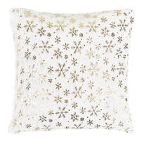 """Poduszka świąteczna """"Płatki śniegu"""" biały, 43 x 43 cm"""