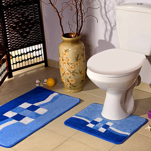 Koupelnová předložka Borneo modrá, sada 2 ks, 50 x 80 cm + 50 x 40 cm