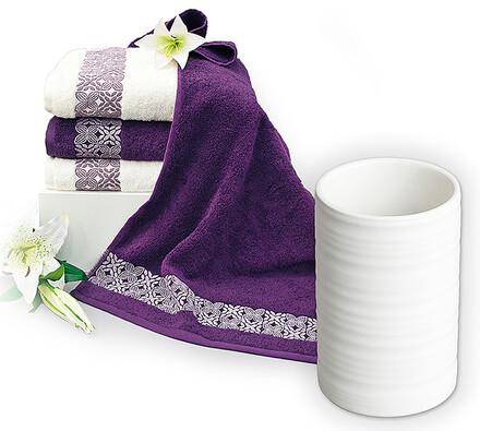 Sada 4 ks ručníku s kelímkem na zubní kartáčky