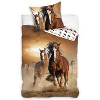 Barna lovas pamut ágynemű, 140 x 200 cm, 70 x 90 cm