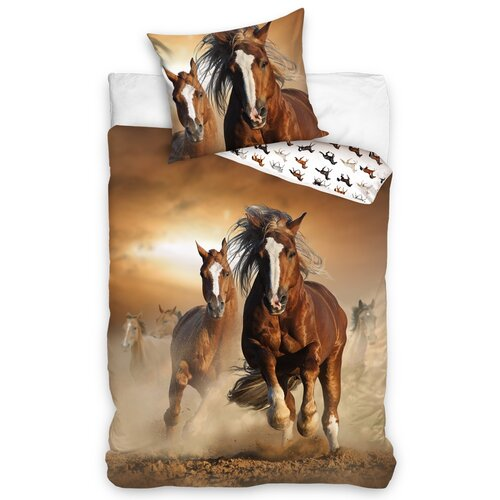 Bavlněné povlečení Koně Hnědáci, 140 x 200 cm, 70 x 90 cm