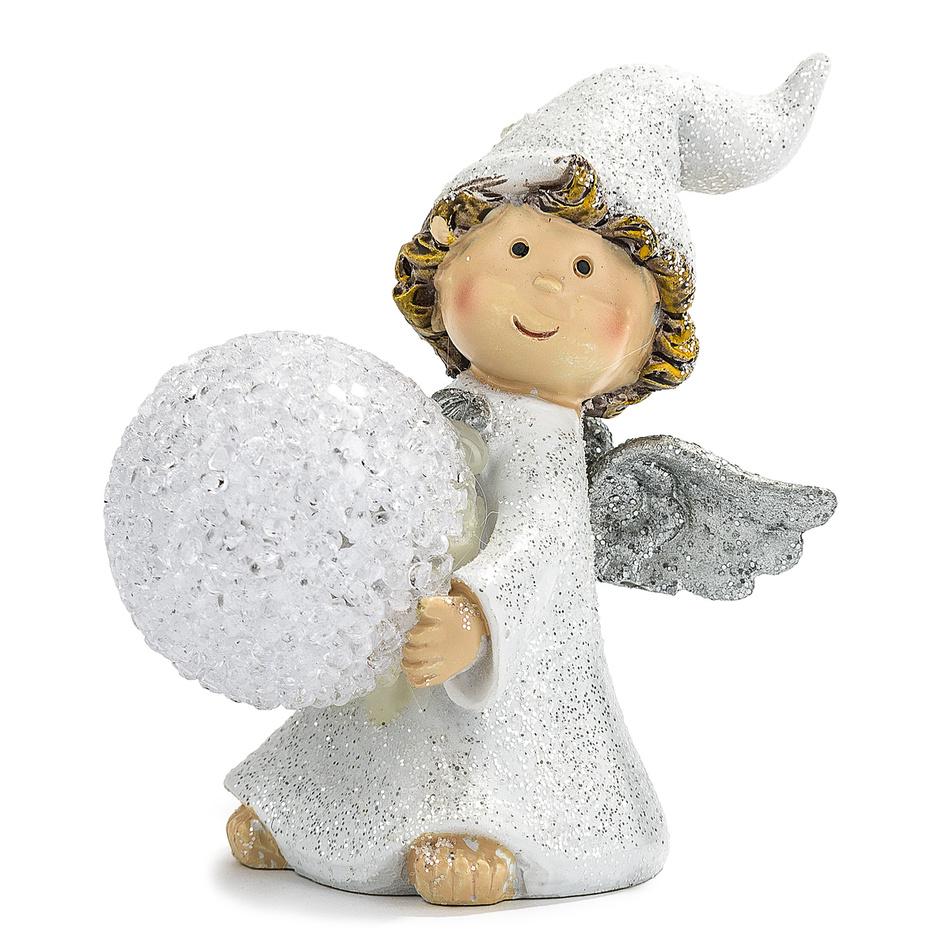 Vianočný anjelik s LED guľou