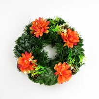 Dušičkový věnec s chryzantémami 25 cm, oranžová