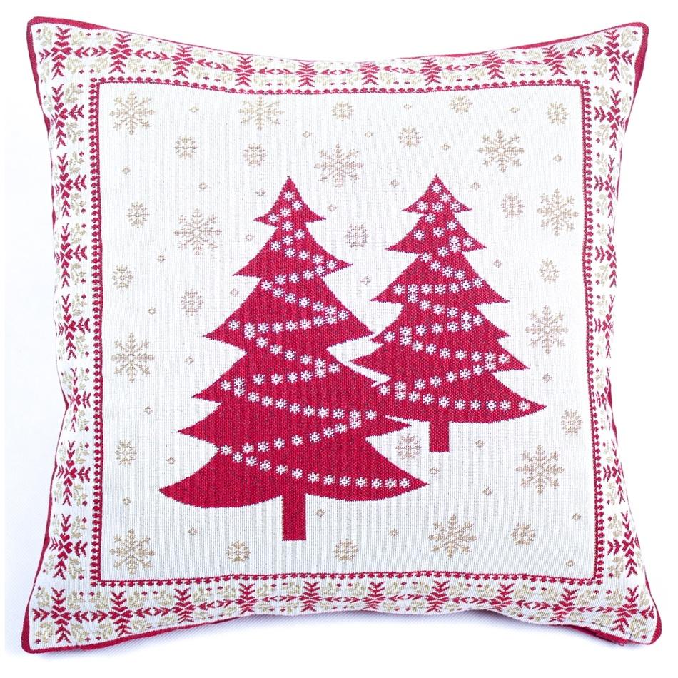 BO-MA Trading Vánoční povlak na polštářek Stromky, 45 x 45 cm