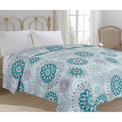 Prehoz na posteľ Debie tyrkysová, 220 x 240 cm