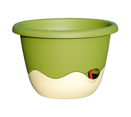 Plastia Samozavlažovací květináč Mareta zelená  + béžová, pr. 25 cm