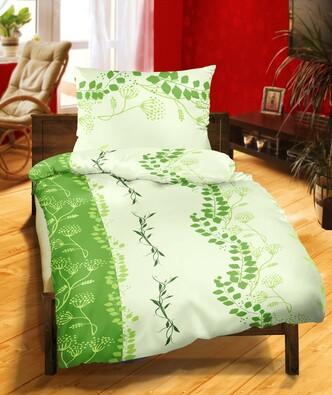 Krepové povlečení DE Luxe Větvička zelená, 140 x 220 cm, 70 x 90 cm