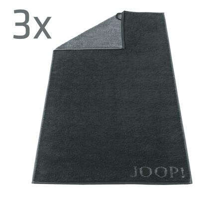 Ručník Doubleface JOOP! černý, 50 x 100 cm, sada 3, černá, 50 x 100 cm