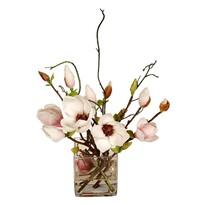 Magnolie artificială în vază de sticlă, 33 cm