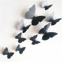 Samolepiace 3D motýle s magnetom čierna, 12 ks
