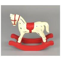 Dekoracja drewniana Koń na biegunach 13 x 11 cm, czerwony