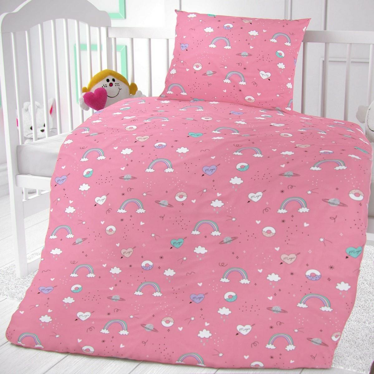 Kvalitex Detské bavlnené obliečky do postieľky Obláčiky ružová, 90 x 135 cm, 45 x 60 cm