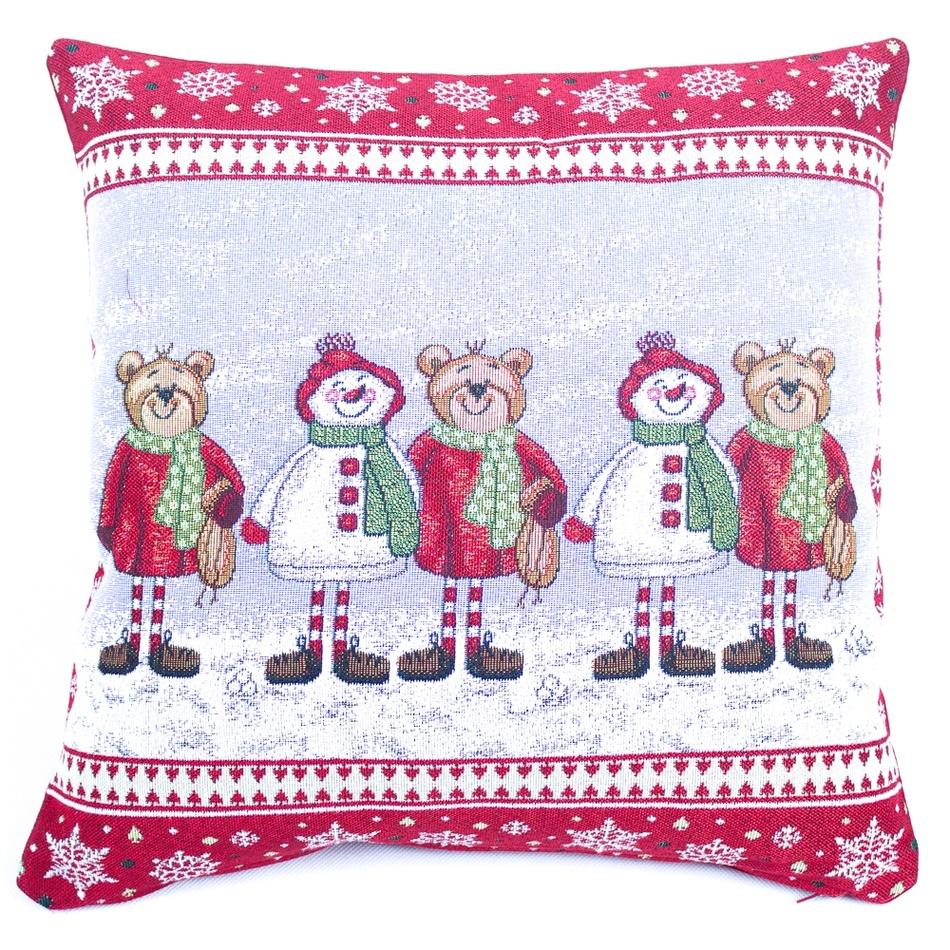 BO-MA Trading Vánoční povlak na polštářek Medvědi, 45 x 45 cm