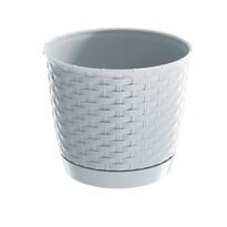 Ratolla Round műanyag virágtartó, fehér, átmérő: 16,5 cm
