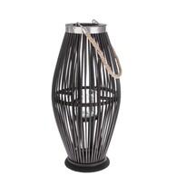 Felinar din bambus Delgada, cu sticlă, maro închis, 49 x 24 cm