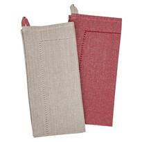 Heda törlőruha, bézs/piros, 50 x 70 cm, 2 db-os szett