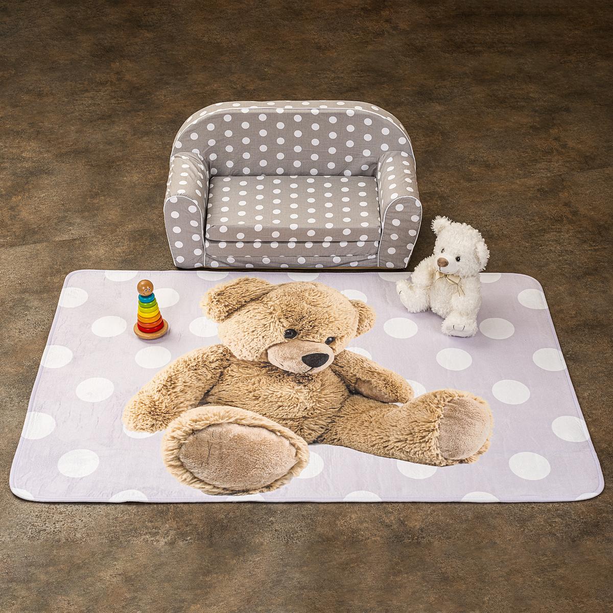 Vopi Detský koberec Ultra Soft Medvedík ružová