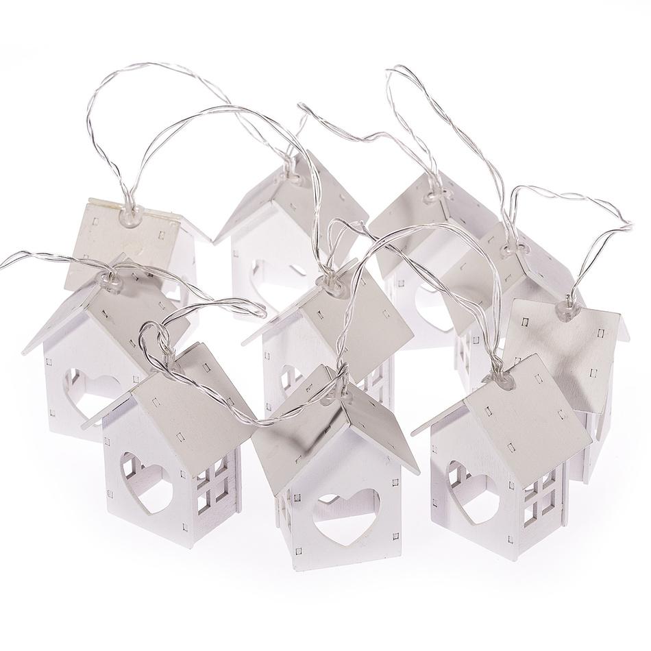 Světelný řetěz Domky se srdíčkem, 10 LED, bílá, 165 cm