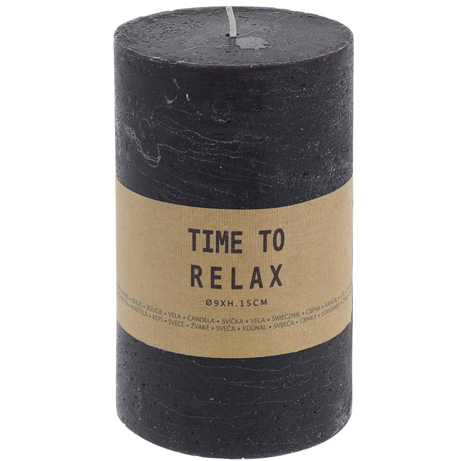 Dekorativní svíčka Time to relax černá, 15 cm