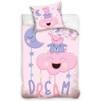 Gyerek pamut ágyneműhuzat kiságyhoz Peppa malac Szép álmokat, 100 x 135 cm, 40 x 60 cm