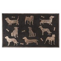 Covoraş din cauciuc Câini, cu patină de bronz, 75 x 45 cm