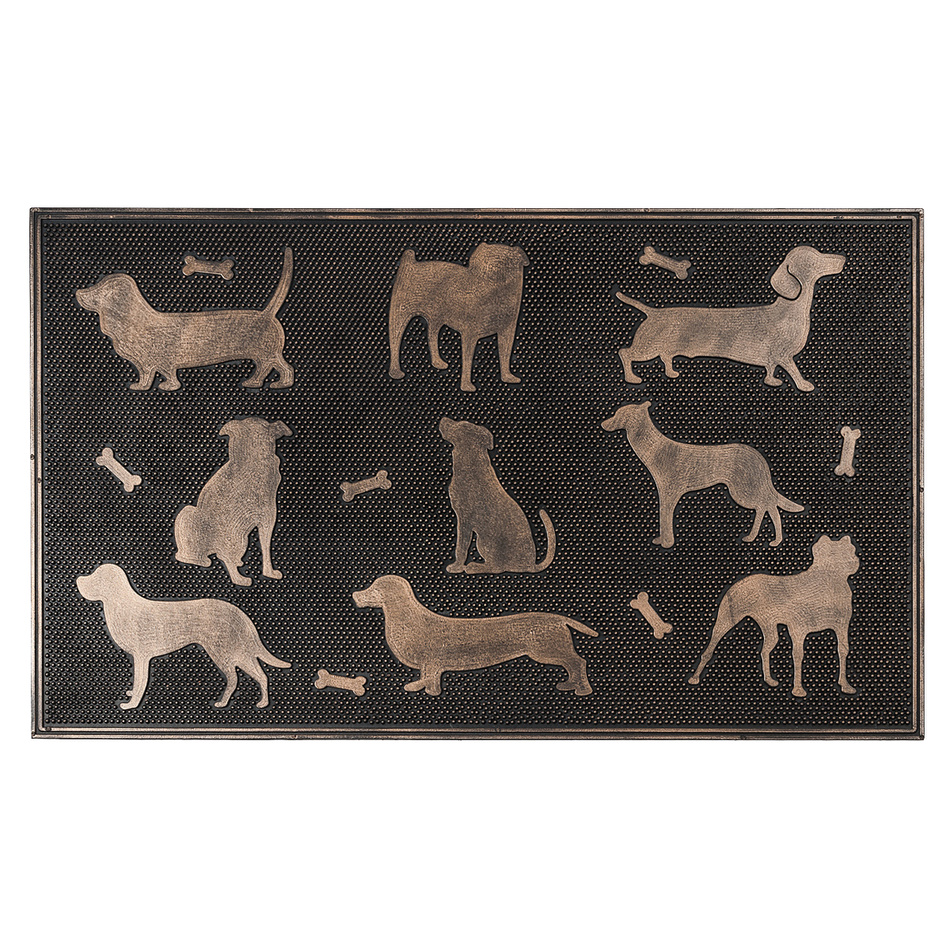 BO-MA Trading Gumová rohožka Psi bronzová patina, 75 x 45 cm