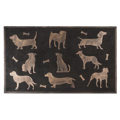 Gumová rohožka Psi bronzová patina, 75 x 45 cm